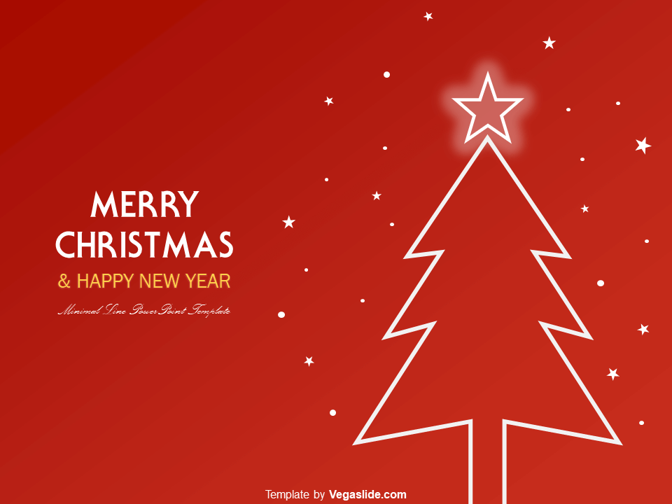 Animated Minimal Line Christmas Tree PowerPoint Template