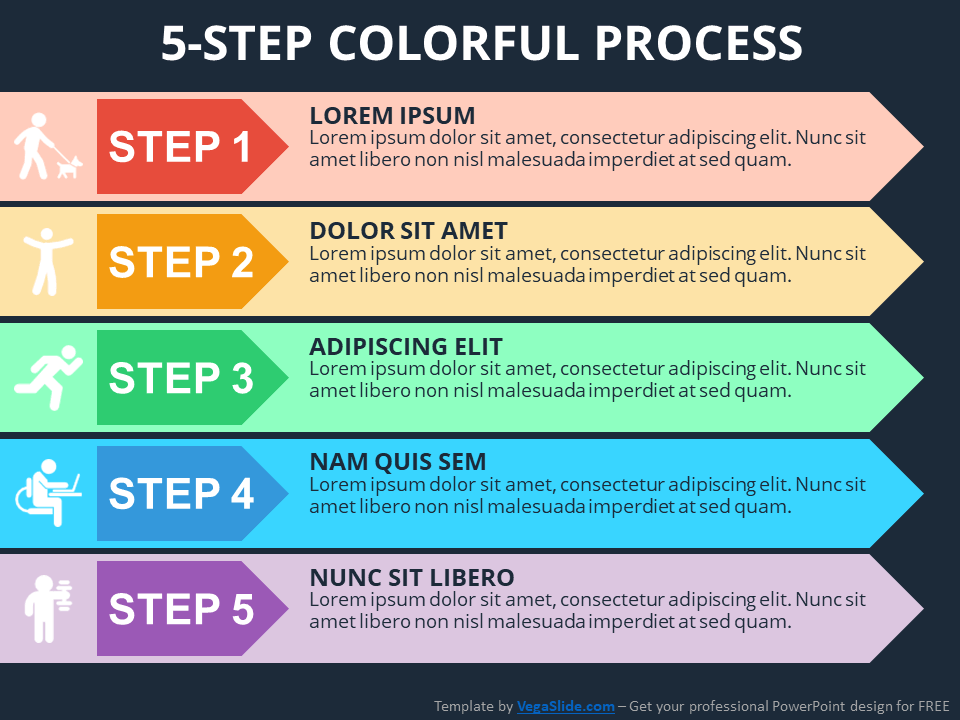 5-Step Colorful Process PowerPoint Template