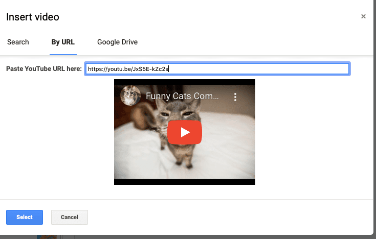 Add Youtube videos to Google Slides
