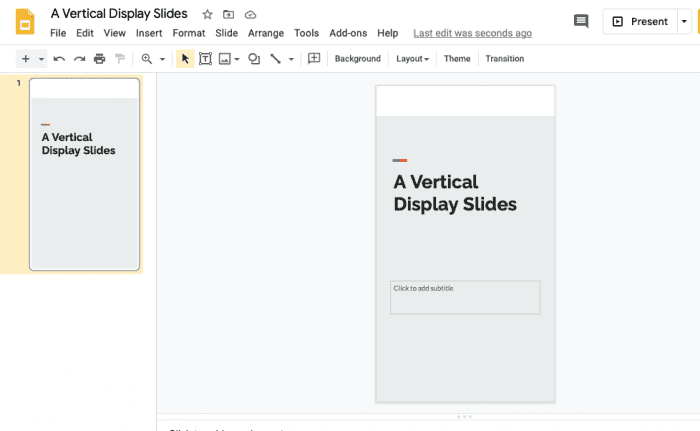 Google Slides Vertical