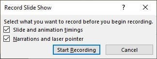 Record Powerpoint with Audio Dialog Box